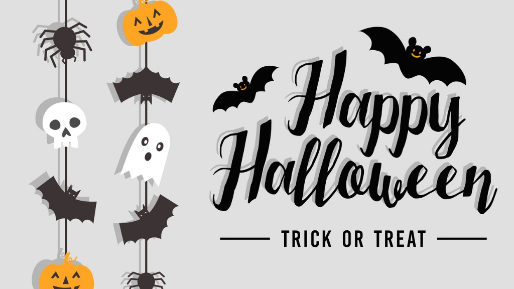 Happy halloween text banner with bat spider pumpkin and ghost vector vector id1023401192