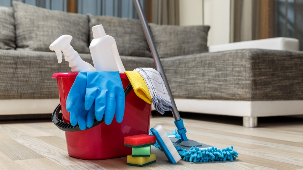 Cleaning service sponges chemicals and mop picture id654153664